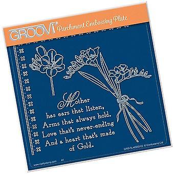 Groovi Freesia & Mère Verset A5 Plaque carrée