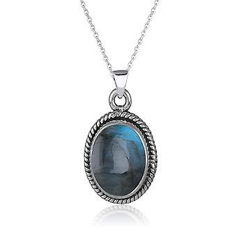 ADEN 925 Sterling Silber Labradorit ovale Form Anhänger Halskette (ID 4288)