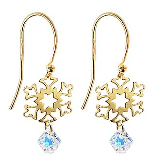 Ah! Jewellery 24K Gold Over Sterling Silver Open Work Snowflake Drop Earrings and Aurore Boreale Crystal From Swarovski, Stamped 925.