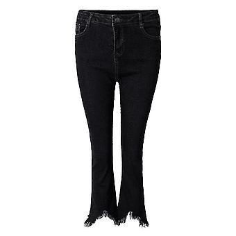 Casual kvinnor dragkedja smal rippade tofs flare nionde jeans