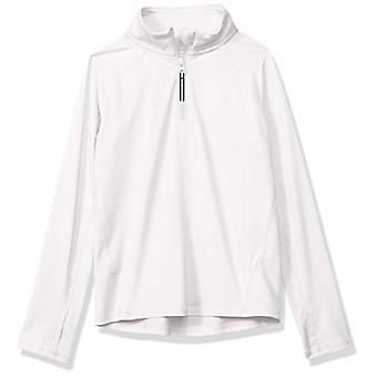 Essentials Girls' Half-Zip Active Jacket, White, M (8)