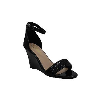 Cambridge Select Women's Open Toe Single Band Buckle Ankle Strappy Glitter Dr...