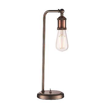 Endon Hal - 1 lámpara de mesa ligera envejecida pewter, placa de cobre envejecido, E27