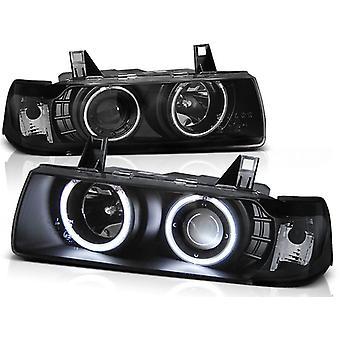 Koplampen dual halo rims BMW E36 12 90-08 99 S/C/T ANGEL EYES ZWART