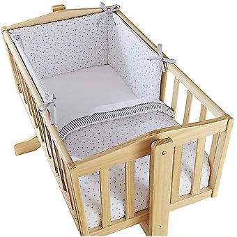 Clair de Lune Stars & Stripes Crib Set Grey