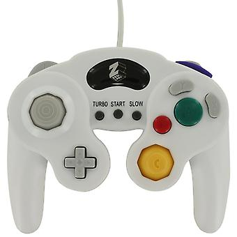 Wired vibration gamepad controller for nintendo gamecube gc with turbo function - white
