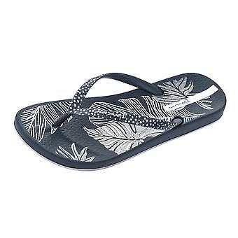 Ipanema Anatomica Nature Leaf Womens Beach flip flops/sandaler-Navy