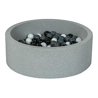 Ball pit 90 cm z 200 kulkami czarnymi, białymi i szarymi