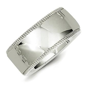 925 Sterling Silver 10mm Comfort Fit Milgrain Band Ring - Taille de l'anneau: 4 à 13,5