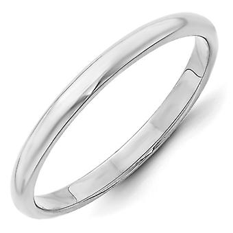 14k White Gold 2.5mm Meia Rodada Anel Joias Para Mulheres - Tamanho do anel: 4 a 14