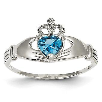 14k White Gold Polished Simulated Blue Topaz Cubic Zirconia December Claddagh Heart Ring Size 7 Jewelry Gifts for Women
