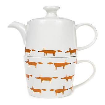 Scion Mr Fox Tea for One, White & Orange