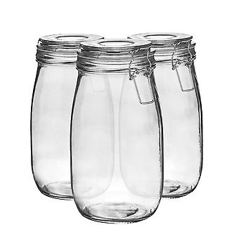 Argon Tableware Glass Storage Jars with Airtight Clip Lid - 1.5L Set - Clear Seal - Pack of 3