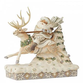 """Jim Shore Heartwood Creek Santa Riding Rendieren """"op cursus voor Kerstmis"""""""