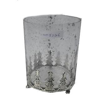 Vidro da lanterna com abetos metálicos de 14 cm