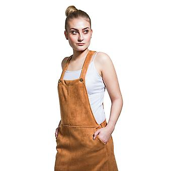 Faux suede dungaree dress - brown lightweight bib overall