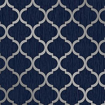 Crystal Trellis Wallpaper Blue / Silver Debona 8894