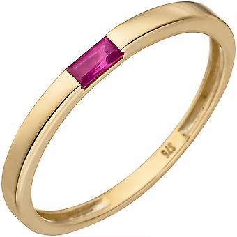 Naisten sormus 375 kulta keltainen kulta 1 rubiini kulta rengas rubiini rengas