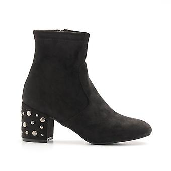 Black Elasticated Ankle Boot With Studded Heel