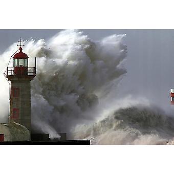 Tapet väggmålning fyr i storm