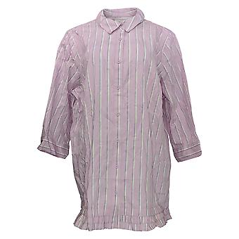 Joan Rivers Classics Collection Women's Top 3/4 Slv Striped Pink A351488