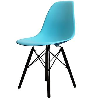 Charles Eames Style Bright Blue Plastic Retro Side Chair Black Wooden Legs