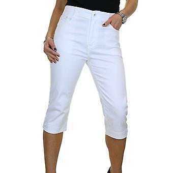 Naisten rento korkea vyötärö suora jalka venyttää Chino Capri rajattu housu 14-24