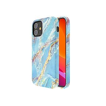 iPhone 12 and iPhone 12 Pro Case Blue with Gold - Marble