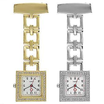 الكريستال مربع ممرضة ووتش الفولاذ المقاوم للصدأ حزام كوارتز ووتش قلادة جيب