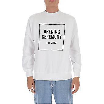 Opening Ceremony Ymba003f20fle0050210 Men's White Cotton Sweatshirt