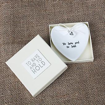Ten oosten van India 'To Have And To Hold' grote porseleinen Ring Dish - Keepsake Gift