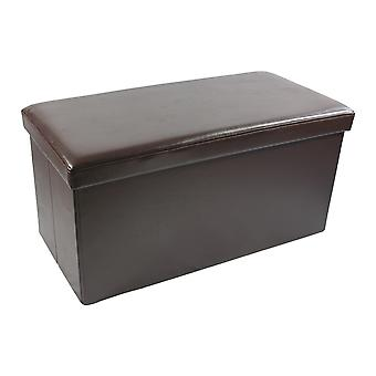 Collapsible Storage Ottoman - Brown Faux Leather 30X15X15