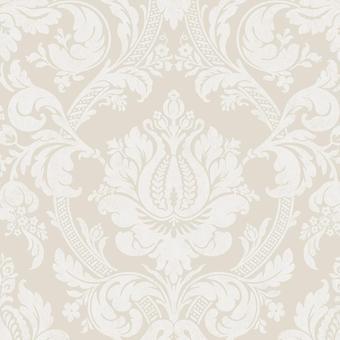 Damask Pearl Grey Wallpaper Shimmer Metallic Floral Flowers White Pattern