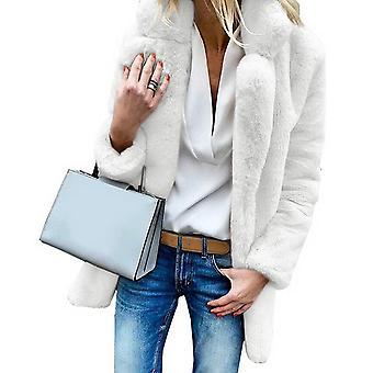 Kvinner Faux Pels Frakker Vinter Solid Mote Outwear Kvinnelig Luksus Langermet