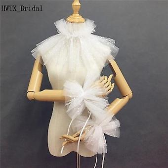 Wrap Shrugs, Dress High Neck Soft Tulle Shawl Jacket, Bolero Cloak With