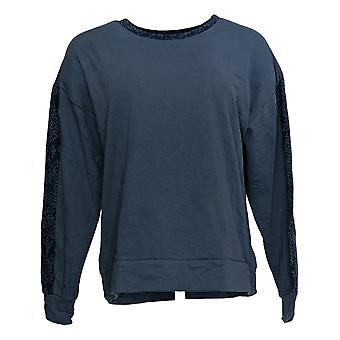 Anyone Women's Sweatshirt Knit Français Terry Animal Print Blue A381288