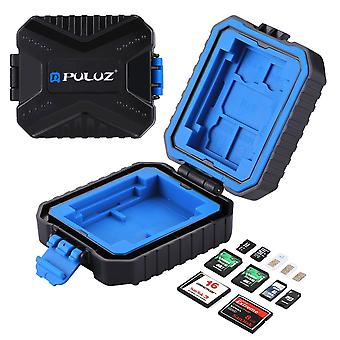 Sim sd cf tf xqd card case, puluz 11 slots mini portable wateroroof resistant memory cards holder st