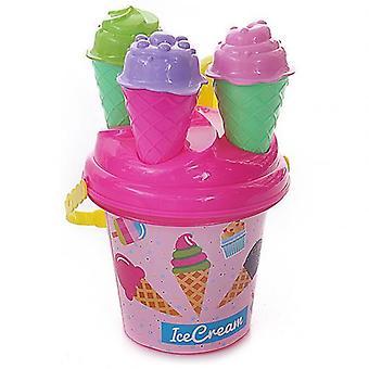 8pcs Outdoor Beach Ice Cream Bucket Ladle Model Play Sand Sandpit
