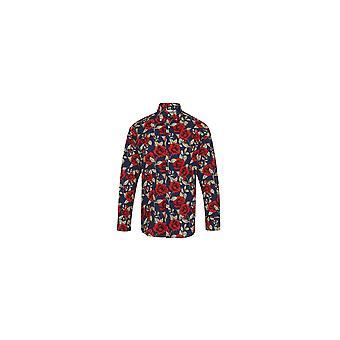 Jenson Samuel Navy Long Sleeved Rose Print Regular Fit Shirt