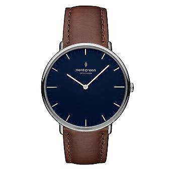 Nordgreen Unisex Native Leather Silver 40mm Watch NR40SILEBRNA