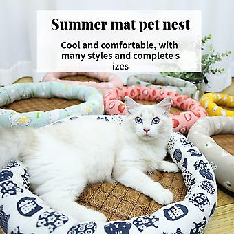 Summer straw round mat cat litter pet litter kennel round litter cat mat dog mat small and medium-sized dog bed with comfortable straw mat