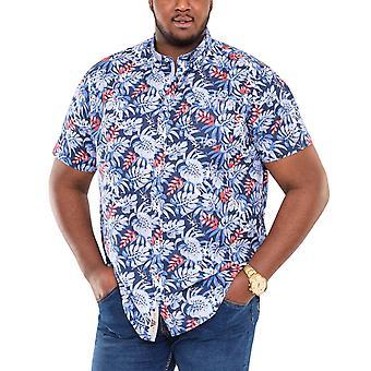 Duke D555 Mens Malibu Big Tall King Size Hawaiian Print Button Up Shirt - Blue