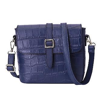 100% Genuine Leather Croc Pattern Crossbody Bag 20x9.5x18cm - Blue