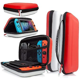 Orzly Carry Case Compatible With Nintendo Switch - RED  WHITE Protective Hard Portable Travel
