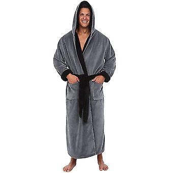 Robe de bain longue d'automne d'automne décontractée à capuchon en flanelle