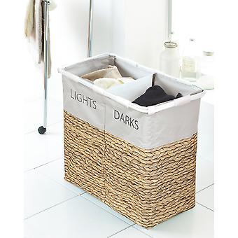 Country Club Wicker Print Lights and Darks Laundry Hamper