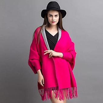 Women  Poncho With Sleeve Scarf Autumn
