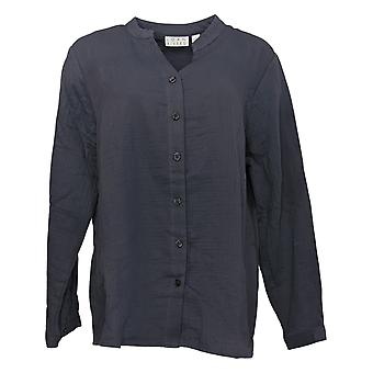 Joan Rivers Women's Top Crinkle Texture Button Front Shirt Gray A392520