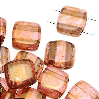 CzechMates Glass 2-Hole Square Tile Beads 6mm 'Rose / Gold Topaz Luster' (1 Strand)