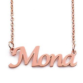 KL Mona - Ketting met aangepaste naam, verguld in 18-karaats roségoud, verstelbare ketting 16 - 19 cm